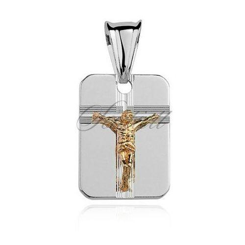 Sentiell Srebrny diamentowany medalik pr.925 jezus na krzyżu pozłacany - gmd006g