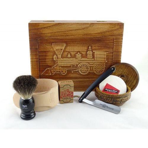 RETRO Parowóz II 7-elementowy zestaw do golenia brzytwą w drewnianym pudełku, czarny