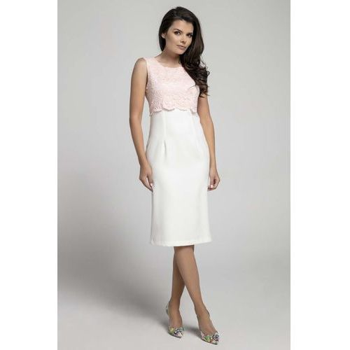 a586ab1658 Nommo Ecru różowa elegancka dopasowana sukienka bez rękawów z koronką  115