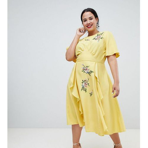 Asos design curve midi dress with embroidery and ruffle detail - yellow, Asos curve