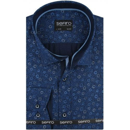 Koszula Męska Sefiro granatowa we wzory SLIM FIT na spinki lub guzik A101, kolor niebieski