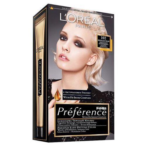 Farba do włosów Feria Preference - 102 Bardzo Jasny Blond Perłowy, L'Oréal