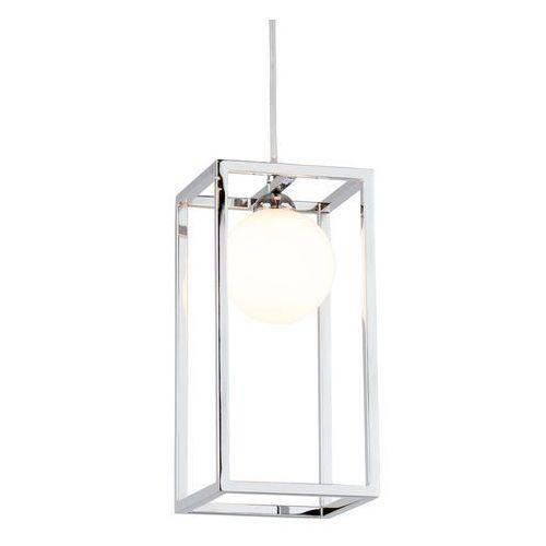 Italux Lampa wisząca daisy md-br4367-d1 ch metalowa oprawa prostokątna klatka zwis szklana kula ball chrom biała (5900644437543)