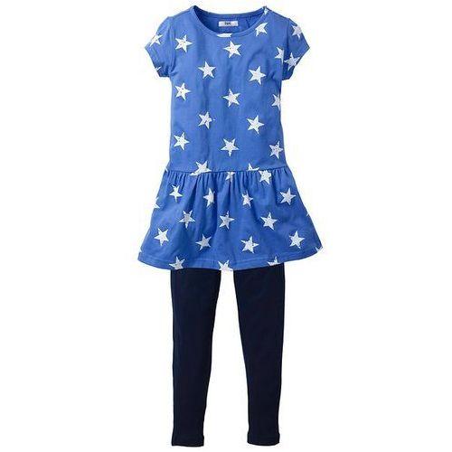 Sukienka + legginsy (2 części) bonprix ciemnoniebiesko-błękitny w gwiazdki (sukienka dziecięca)