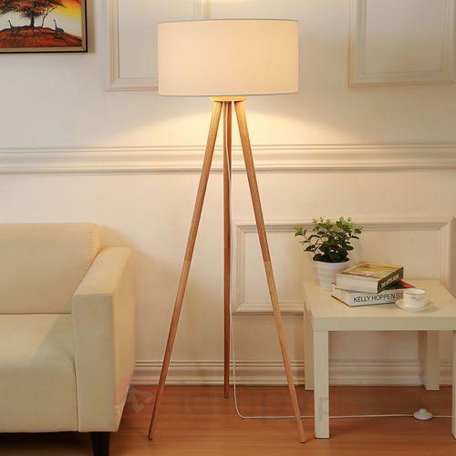 Lampenwelt Materiałowa lampa stojąca charlia z trójnogiem
