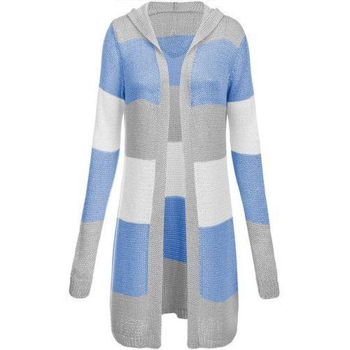 Made in italy Długi sweter z kapturem szaro-błękitny (122art) - błękitny   szary