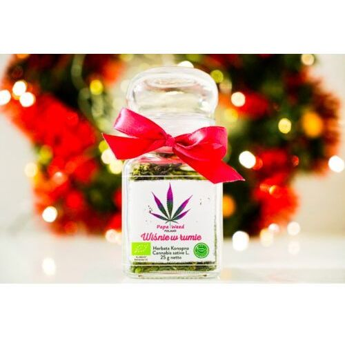 Herbata konopna eko wiśnie w rumie susz cbd szkło 25g marki Papaweed