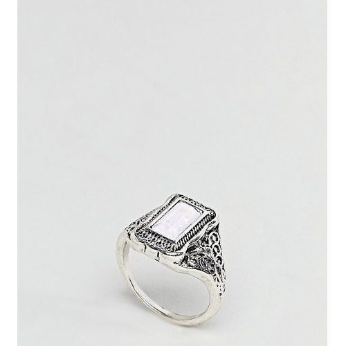 Asos curve rectangle stone engraved ring - silver