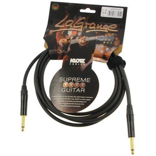lagpp0300 lagrange kabel gitarowy 3m, jack-jack, pozłacane wtyki neutrik marki Klotz