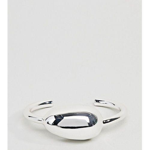 Asos design curve silver plated fluid ovoid shape cuff bracelet - silver marki Asos curve