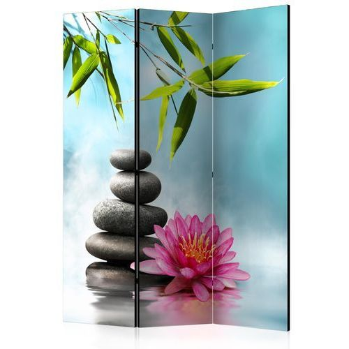 Artgeist Parawan 3-częściowy - lilia wodna i kamienie spa [room dividers] bogata chata