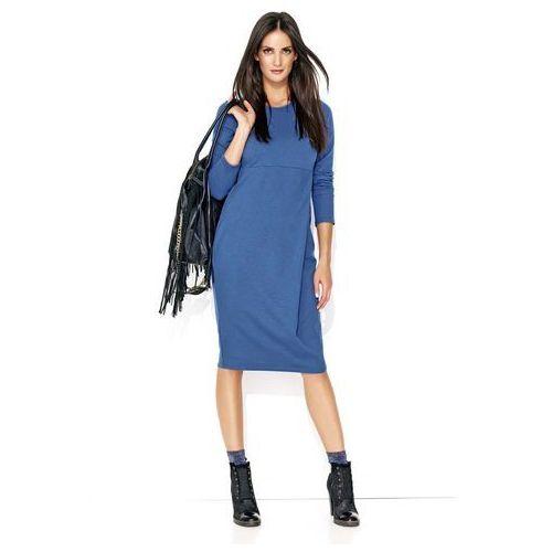 Jeansowa wygodna sukienka dzianinowa z zakładką marki Makadamia