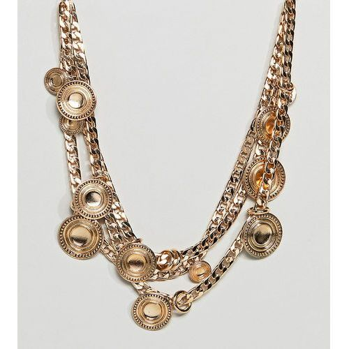ASOS DESIGN Curve Statement Coin And Chunky Chain Multirow Necklace - Gold