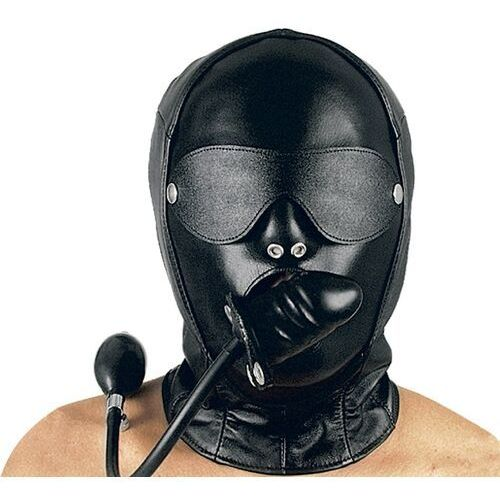 Skórzana maska z pompowanym penisem, Rozmiar: U, Kolor: Czarny, 03 5232