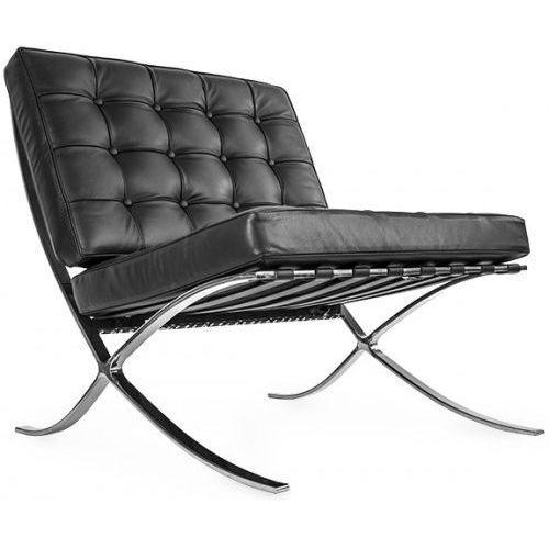 Design town Czarny fotel skóra naturalna insp. projektem barcelona (5902385713184)