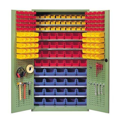 Szafa o dużej pojemności,10 półek, 158 otwartych pojemników magazynowych marki Mauser