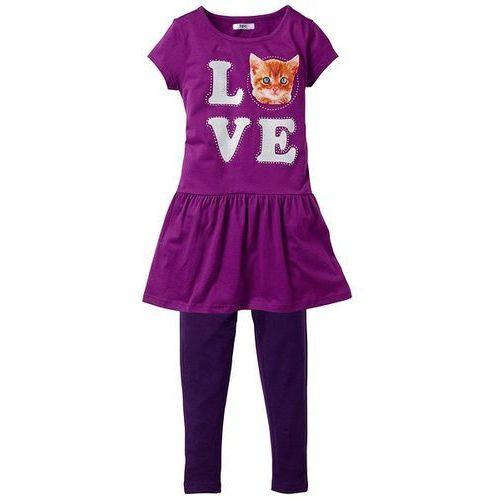 Sukienka + legginsy (2 części) bonprix z nadrukiem ciemny lila - piwonia (sukienka dziecięca)