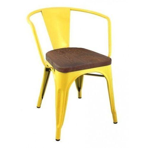 Krzesło metalowe, siedzisko drewniane TOWER ARM WOOD żółte - sosna antyczna, metal, MC-005.YE.SOS (7812150)