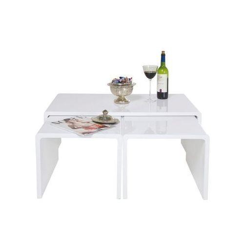 Shiny Biały Stolik Kawowy Lakierowany na Wysoki Połysk (3/Set) - 75897, Kare Design z sfmeble.pl