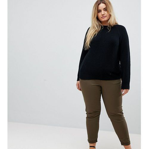 ASOS CURVE Skinny Chino Trousers with Roll Up Hem in Khaki - Green