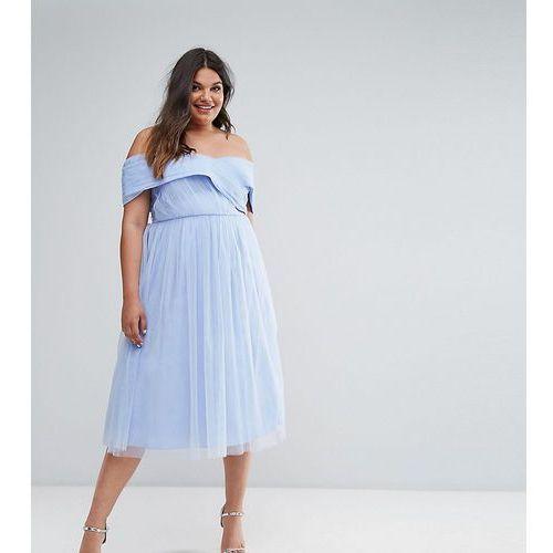 wedding tulle midi dress - blue marki Asos curve