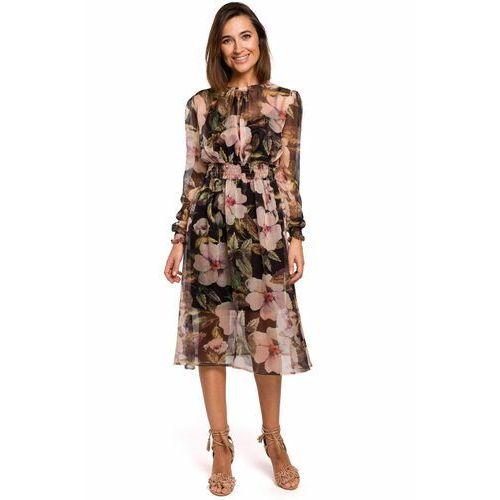S213 Sukienka szyfonowa midi z długimi rękawami - model 3