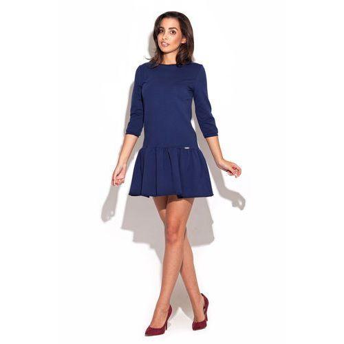 23c32689fb Niebieska Dzianinowa Sukienka z Falbanką na Dole