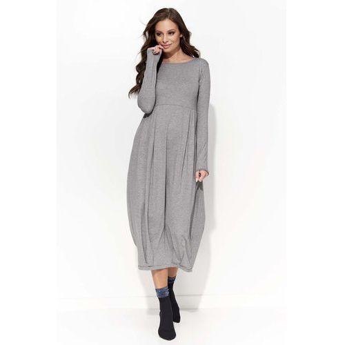 Szara Sukienka Midi Bombka z Długim Rękawem, bombka