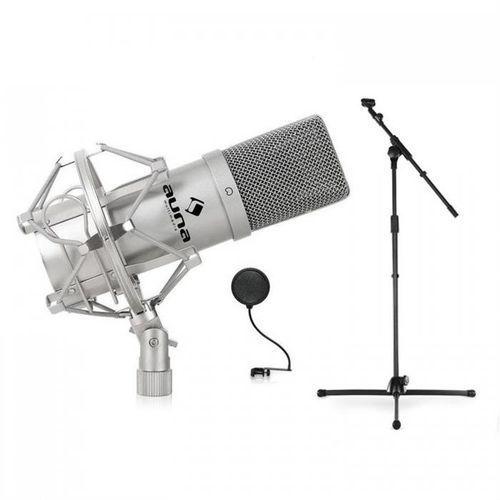 Sceniczny/studyjny zestaw mikrofonów dj pa: mikrofon, statyw marki Auna