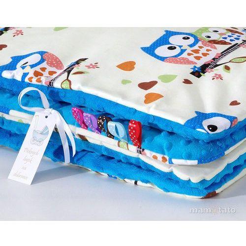 kocyk minky dwustronny sówki kremowe d / niebieski marki Mamo-tato