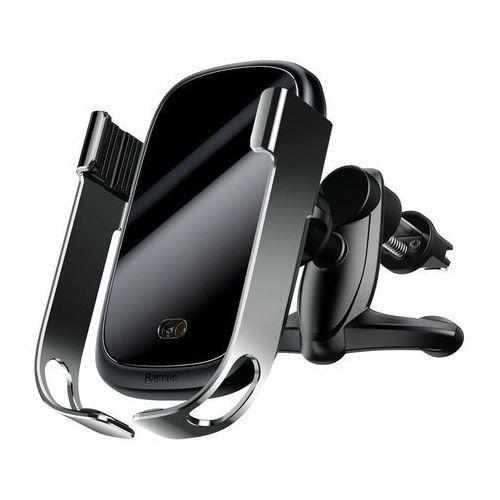 Baseus Rock elektrycznie zamykany uchwyt samochodowy bezprzewodowa ładowarka Qi 10W z czujnikiem podczerwieni szary (WXHW01-0S) - Srebrny