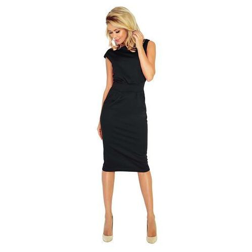 Numoco Czarna sukienka elegancka midi z zaznaczoną talią
