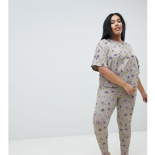 Asos design curve rocket in space legging and boxy tee set - grey, Asos curve