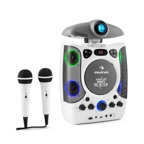 Auna karaprojectura zestaw karaoke z projektorem gra świateł led usb biały