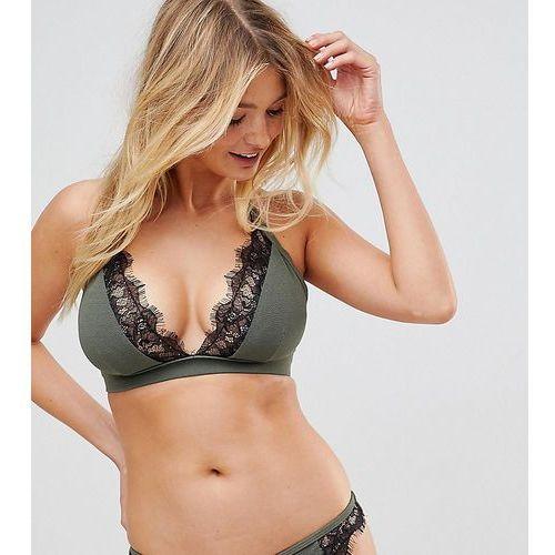 Wolf & Whistle Fuller Bust Exclusive lace cami bikini top B - F Cup in khaki - Green, w 3 rozmiarach