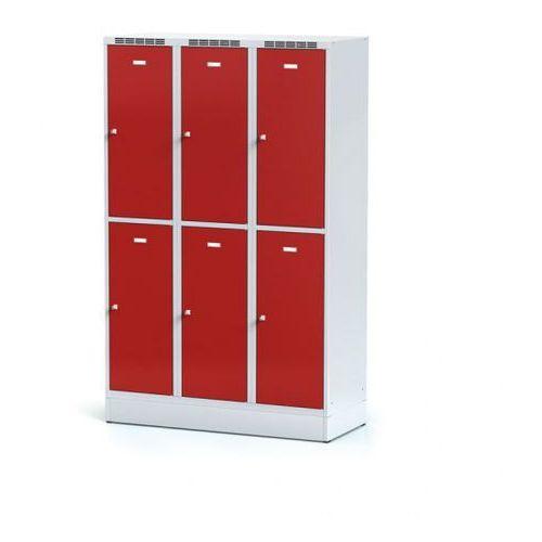 Alfa 3 Metalowa szafka ubraniowa 6-drzwiowa na cokole, drzwi czerwone, zamek cylindryczny