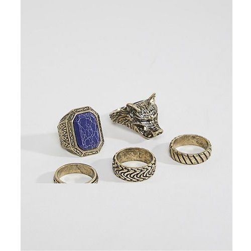 ASOS DESIGN Oversized Ring Pack In Burnished Gold With Wolf And Stone - Gold
