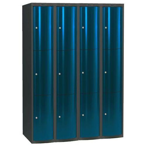 Ekskluzywne szafy osobiste 4x3 schowki Kolor drzwi: Niebieski metalizowany z kategorii szafy ubraniowe