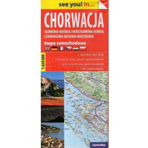 Chorwacja, Słowenia, Bośnia i Hercegowina, Serbia, Czarnogóra, Kosowo, Macedonia mapa samochodowa 1 (2015)