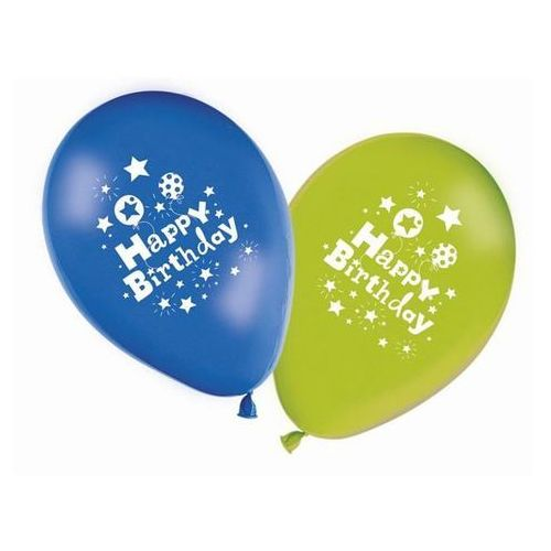 Balony z nadrukiem Happy Birthday - 28 cm - 8 szt.