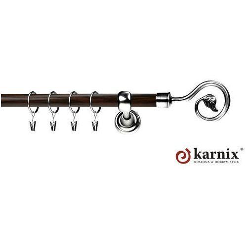 Karnisz Metalowy Prestige pojedynczy 19mm Spiralka INOX - wenge, Karnix
