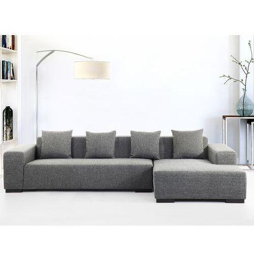 Beliani Sofa ciemnoszara - sofa narożna l - tapicerowana - lungo
