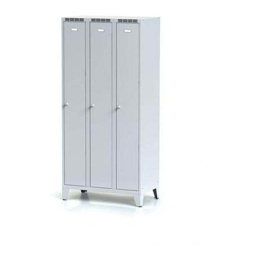 Metalowa szafka ubraniowa trzydrzwiowa, na nogach, szare drzwi, zamek obrotowy