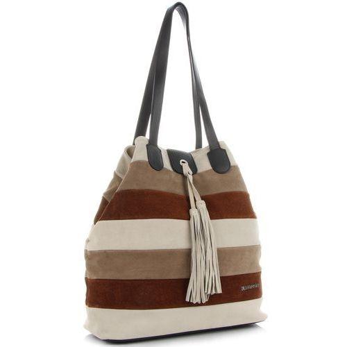 61d4b3daca0d5 Firmowe torebki skórzane oryginalny włoski shopper z możliwością  poszerzenia w modne kolorowe paski renomowanej marki made in italy  multikolor beż (kolory) ...