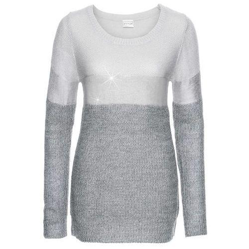 Sweter z metalicznym nadrukiem bonprix ciemnoszaro-jasnoszaro-srebrny, kolor szary