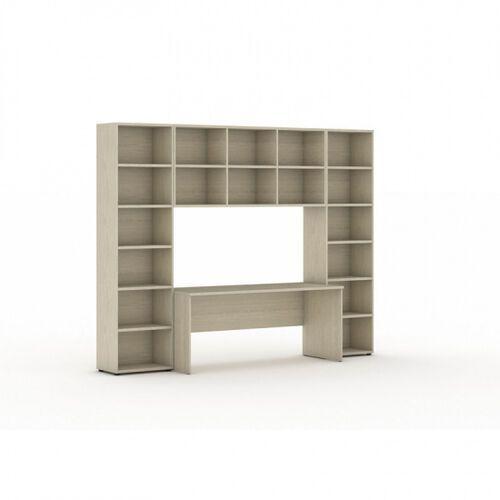 Biblioteka z wbudowanym biurkiem, 2950 x 700/400 x 2300 mm, dąb naturalny