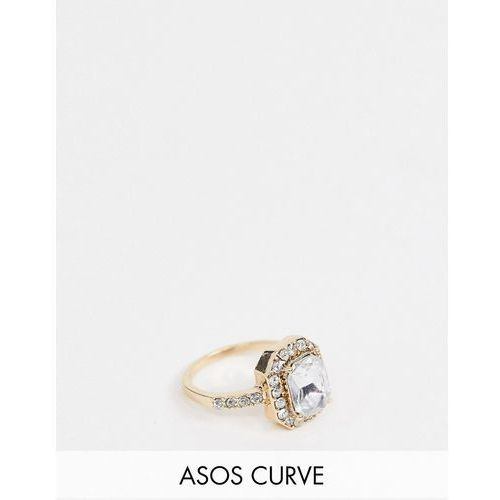 Asos curve Asos design curve ring with square jewel and crystal band in rose gold - gold