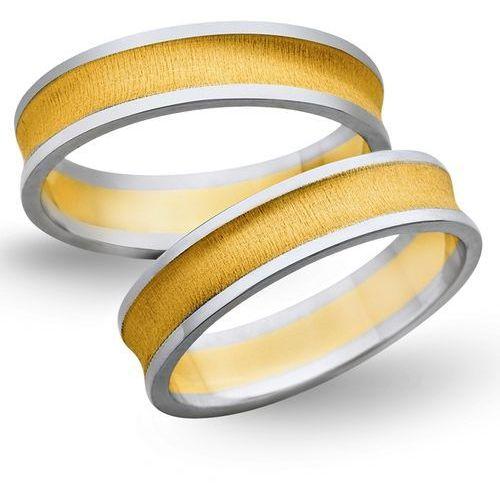 Obrączki z żółtego i białego złota 5mm - O2K/102 - produkt dostępny w Świat Złota