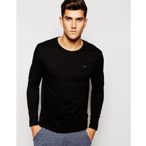 Tommy Hilfiger Flag Long Sleeve Top In Organic Cotton In Muscle Fit - Black