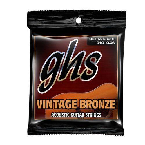 Ghs vintage bronze struny do gitary akustycznej, ultra light,.010-.046